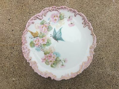 Antique Victorian Scalloped Edge Painted Butterfly Floral Plate