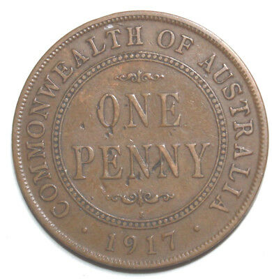 1917 I  - AUSTRALIAN PENNY -   Circulated  KGV Coin,  Great Investment