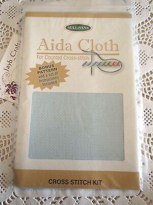 Sullivans 14 count Aida cloth 36cmx45cmcm  Sky blue New Unopened