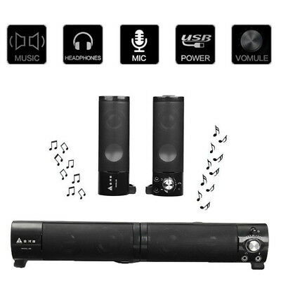 [NEW] 2 in 1 Separable USB PW Sound Bar Speaker For Computer PC Laptop Notebook