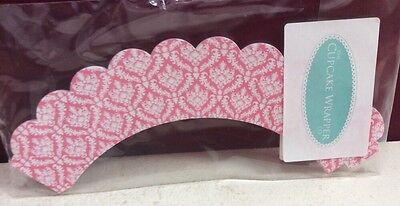 Pink Damask Decorative Cupcake Wrappers - Pack Of 12