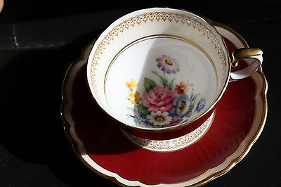 C143 Painted Floral Bouquet with Deep Red Crown Staffordshire Teacup and Saucer