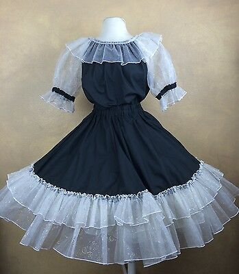 Square Dance Outfit Skirt Blouse Black Cotton w Sheer White & Gold Ruffled Trim