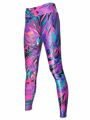 Womens Gym BLOCKOUT Glossy Melting Print Full Length Fitness Tights - Pink Hot
