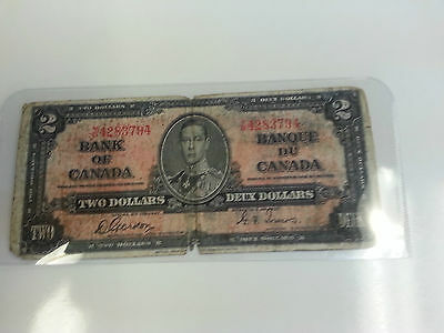 Bank Of Canada 1937- $2 Rare  Canadain Bank Note