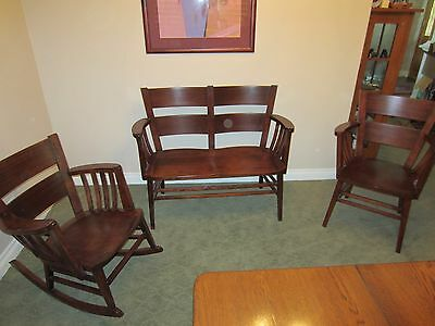 Antique Heywood Wakefield Early 1900's Chair, Rocker, and Bench Set - ANTIQUE HEYWOOD WAKEFIELD Early 1900's Chair, Rocker, And Bench Set