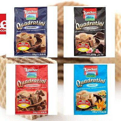All Natural Loacker Quadratini Bite Size Wafer Cookies 250g.
