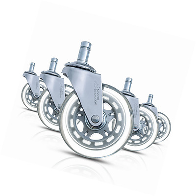 """Modern Innovations 3"""" Office Chair Casters, Set of 5 Heavy Duty Rollerblade Styl"""
