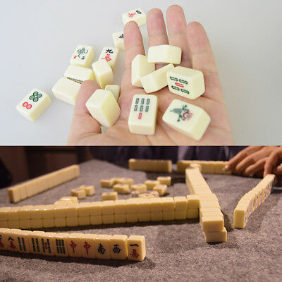 [NEW] Portable Vintage Mini Mahjong Rare Game Chinese 144 Tiles Mah-Jong Set Wit