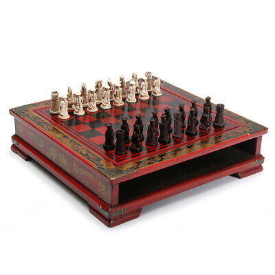 [NEW] 32Pcs/Set Resin Chinese Chess With Coffee Wooden Table Vintage Collectible