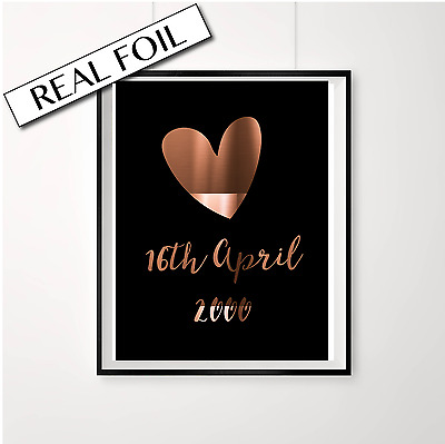 Custom Anniversary Date Print / Personalised copper foil poster / Love wedding