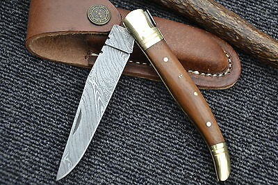 "Huntex Handmade Damascus 4.7"" Hunting Folding French Pen Lagouli Pocket Knife"