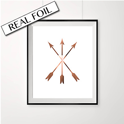 Copper Arrow Print / Crossed over arrows Poster / Decorative wall art design