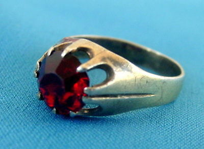 Russian Ring Silver Sterling, Red Stone, Antique Russia USSR, 875, Size 8