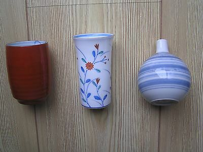 "Three Attractive Hand-Painted? Japanese Red, Blue & White Vases: 3.75"" Tall: Vgc"