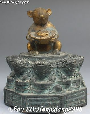 Old China Bronze Gilt Wealth Yuanbao Zodiac Year Mouse Mice Toad Bufonid Statue