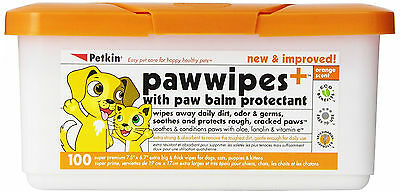 Petkin Paw Cleaning Wipes for Pet Dogs Cats Removes Stains and Odours - 100 Pack