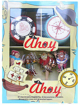 """Miquel -Rius Designer Pirate """"Ahoy"""" Cupcake Kit Toppers & Cases Party Occasions"""