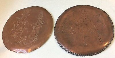 2 Beautiful Vintage Egyptian Egypt Hand Hammered Copper Wall Plaques Pyramids