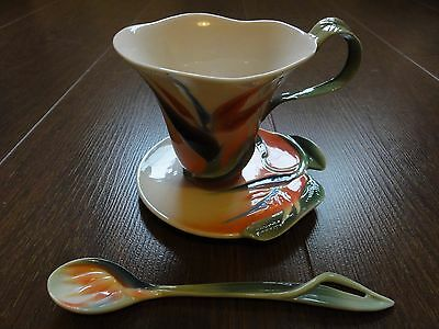 Franz Porcelain Cup, Saucer and Spoon - Bird Of Paradise FZ00031/36