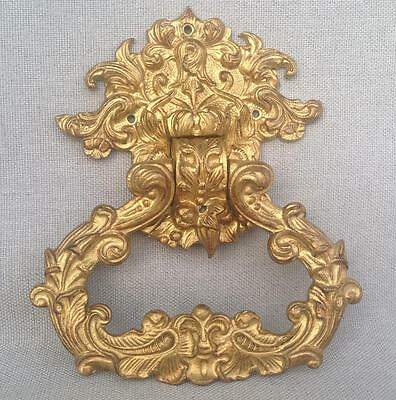 Antique french door knocker early 1900's made of ormolu flowers signed
