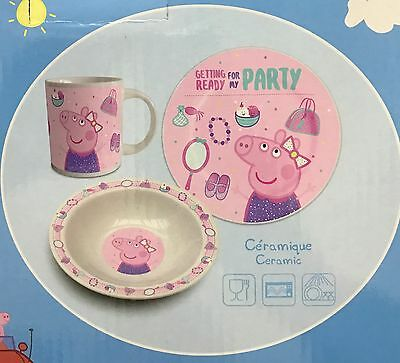 New Peppa Pig 3 Piece Pink Kids Ceramic Bowl Plate u0026 Mug Dinner Or Lunch Set & ?NEW CHILDu0027S CERAMIC Gruffalo Dinner Set Plate Bowl Eggcup Mug ...