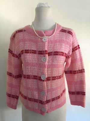 VINTAGE WOMENS PINK MOHAIR 50s 60s CARDIGAN SWEATER M/L