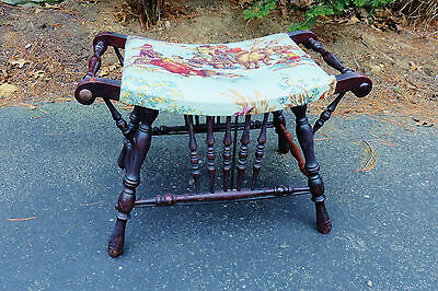 Authentic Victorian Bench, Stool, Seat For Vanity, Sewing. Upholstered