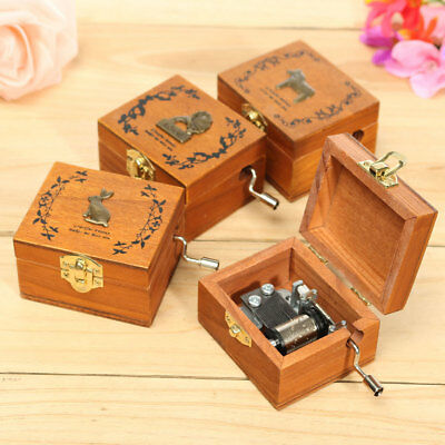 [NEW] 1Size Only Mini Wooden Novelty Hand Crank DIY Slide Drawer Music Box Birth