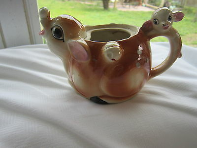 Vintage Deer / Doe Creamer with a Fawn for a Handle