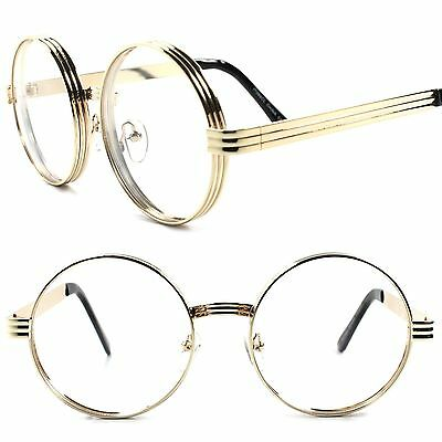 Classic Vintage Retro Steampunk Mens Womens Round Circle Clear Lens Gold Glasses