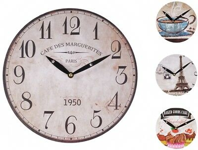 Wall Clock Ø 29cm Deco Watch Kitchen Wooden Quartz Retro Antique Shabby Cottage