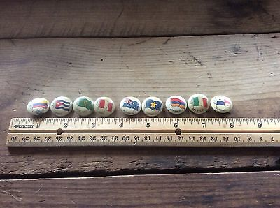 Lot Of Vintage Flag Countries Pins, Group Of Nine , Greenduck, Collector Pins