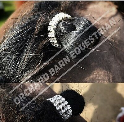 NEW Clear Crystal Diamante Elasticated Plaiting Bands TWO Rows