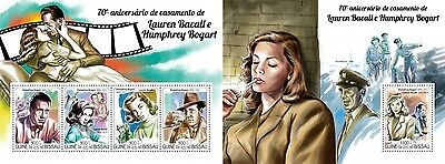 Z08 IMPERFORATED GB15119ab GUINEA-BISSAU 2015 H. Bogart and Left Bacall MNH Pos