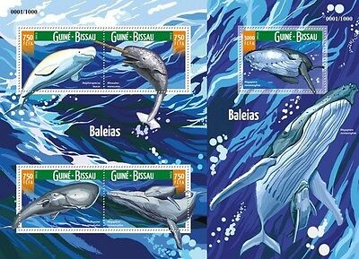 Z08 Imperf GB15706ab GUINEA-BISSAU 2015 Whales MNH Set