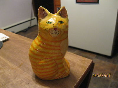 Vintage Lacquered Striped Orange Tabby Kitty Cat Made In India