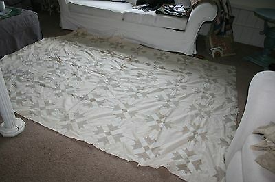 Huge Early Hand Pieced Bear Paw Quilt Top75 X 98 Little Brown Printon Cream