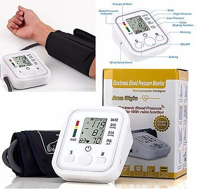 New Automatic Digital Upper Arm Blood Pressure Monitor Meter Intelligent Memory