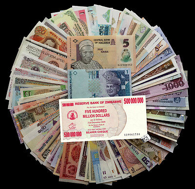 Lot of 100 PCS From 50 Countries Different Banknotes   UNC