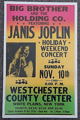 Vintage Janis Joplin w/ BB Holding Company Concert Poster White Plains, NY 1968