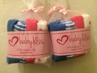 New Baby Kiss 24 Pack Washcloth Gift Set Unisex Pink Blue Stipes Polka Dot Solid