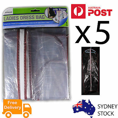 5x Long Dress Protective Bag Long Clothing Gawn Garment Dustproof Storage cover