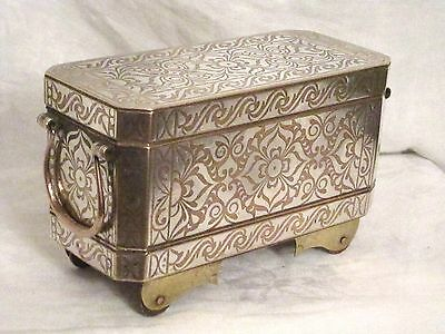 Antique 19Th Cen Betel Nut Box Great Condition Gorgeous Brass With Silver Inlay