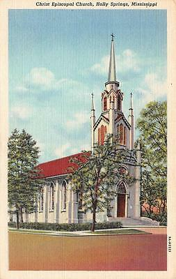 HOLLY SPRINGS, MS  Mississippi      CHRIST EPISCOPAL CHURCH     c1940's Postcard