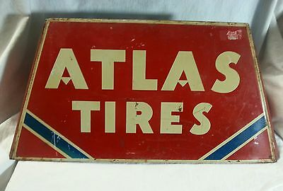 Vintage Authentic ATLAS TIRES TIRE Sign Metal Stand One Half Original Red Paint