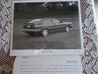 8x10 factory advertising photo with media info 1982 Audi coupe