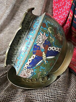Old Chinese Cosamine Brass Planter / Pot Surround  …beautiful colours and design