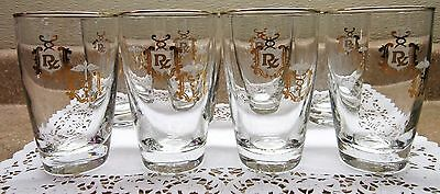 (8) VTG Libbey Highball Doctor Medical Caduceus Rx Gold Leaf Apothecary Glasses