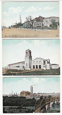 RARE - 3 Early Postcards  - SALINAS CA California - ca 1908 S Main Street etc.